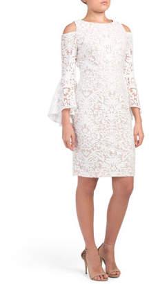 Cold Shoulder Bell Sleeve Midi Dress