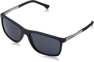 Emporio Armani Classic Rectangle Sunglasses in Blue Rubber EA40 547487