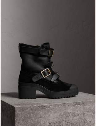 Burberry Buckle Detail Suede and Shearling Boots