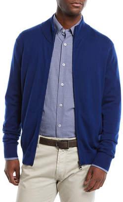 Neiman Marcus Men's Casual Merino Wool Zip-Front Cardigan Sweater