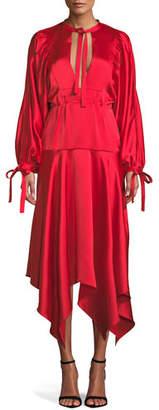 Self-Portrait Plunging Satin Handkerchief Midi Dress