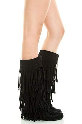 Refresh Jolin-02 Women's Fringe Moccasin Flat Heel Zipper Under Knee High Boots
