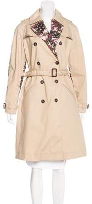 Givenchy Floral-Accent Trench Coat