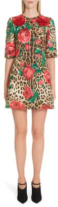 Dolce & Gabbana Embellished Rose & Leopard Print Brocade Dress