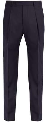 Officine Generale Marcel Wool Flannel Trousers - Mens - Navy