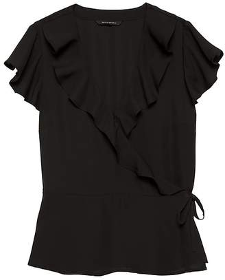 Banana Republic Petite Solid Ruffle-Wrap Top