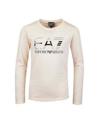 Ea7 Sparkle Logo Long Sleeved T-shirt Colour: LIGHT PINK, Size: Age 8