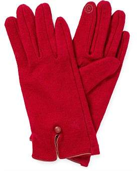Gregory Ladner Wool Glove W Leather Trim/Button