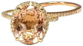 LOGR-Ring Sets Oval Morganite Engagement Ring Set Pave Diamond Wedding 14K Yellow/Rose Gold,10x12mm