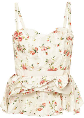 Brock Collection Tuty Ruffled Floral-print Silk Bustier Top - Cream