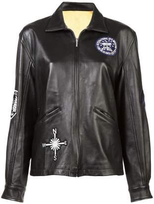 Nicole Miller embellished boyfriend leather jacket