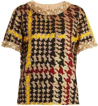 Ashish Short-sleeved hound's-tooth sequin-embellished top