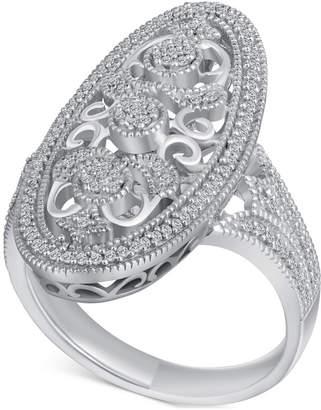 Macy's Diamond (1/4 ct. t.w.) Oval Openwork Ring in Sterling Silver
