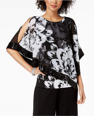 MSK Sequined Floral-Print Poncho Top