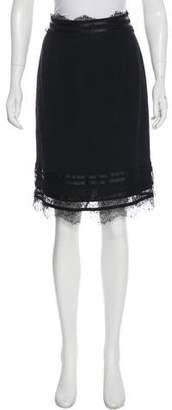 Blumarine Lace-Trimmed Knee-Length Skirt