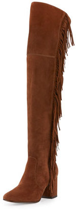 Frye Jodi Fringe Suede Over-The-Knee Boot, Wood $598 thestylecure.com