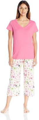 Hue Women's Pajama Set-Pattern Cotton Capri with Solid Short Sleeve Shirt