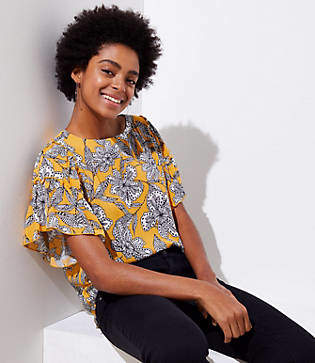 LOFT Abstract Floral Tiered Ruffle Sleeve Top