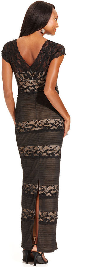 Marina Dress, Cap-Sleeve Contrast-Lace Tiered Gown