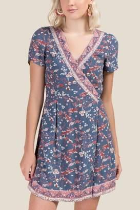 francesca's Carla Floral Wrap Dress - Dark Teal