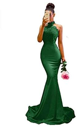 King's Love Women's Halter Neck Mermaid Appliques Lace Long Bridesmaid Dress US