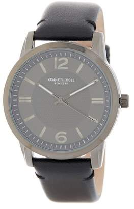 Kenneth Cole New York Men's Leather Strap Watch, 44mm