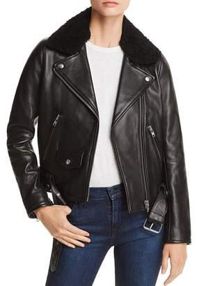 Nobody Shearling-Trimmed Leather Biker Jacket