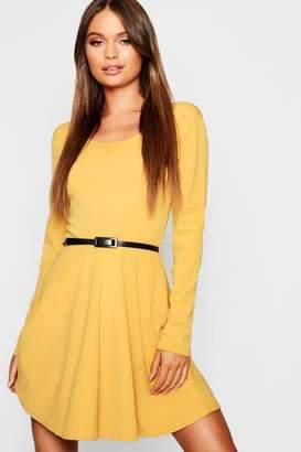 boohoo Long Sleeve Belted Skater Dress d39272f77