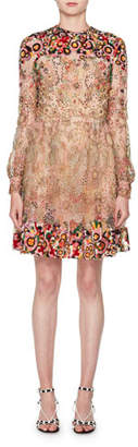 Valentino Long-Sleeve Heavily Beaded Embroidered Tulle Illusion Dress