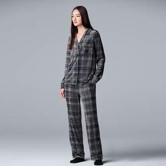 Vera Wang Petite Simply Vera 3-piece Velour Top & Pants Pajama Set
