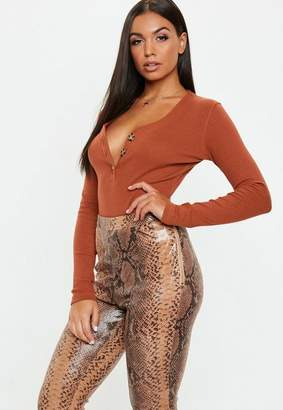 Missguided Rust Horn Button Plunge Ribbed Bodysuit