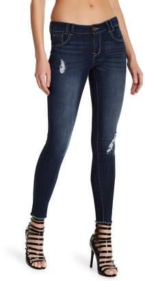 1822 Denim Undone Hem Stretchy Skinny Leg Jeans