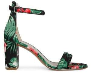 Kenneth Cole New York Lex Tropical-Print Satin Ankle Strap Sandals