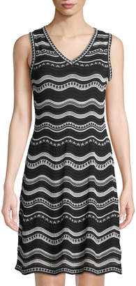 M Missoni Sleeveless Wavy Knit V-Neck Dress
