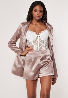 Missguided Satin Tailored Co ord Shorts