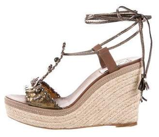 Lanvin Embellished Wedge Sandals