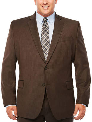 STAFFORD Stafford Travel Gray Brown Stripe Classic Fit Stretch Suit Jacket - Big & Tall