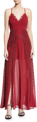 Aijek Lavinia Chiffon & Lace Maxi Dress