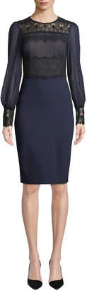 Catherine Deane Lillian Sheer Dot & Lace Long-Sleeve Dress