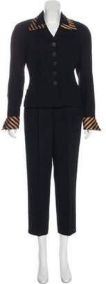 Christian Dior Wool High-Rise Straight-Leg Pantsuit Black Wool High-Rise Straight-Leg Pantsuit