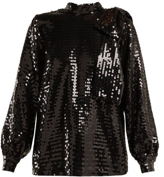 MSGM High Neck Sequin Top - Womens - Black