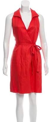 Oscar de la Renta Linen Wrap Dress