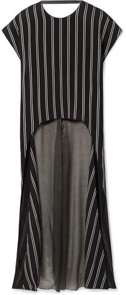 Esteban Cortazar - Striped Satin-twill And Silk-blend Chiffon Blouse - Black