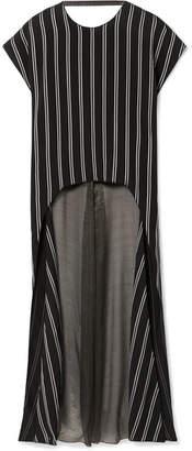 Esteban Cortazar Striped Satin-twill And Silk-blend Chiffon Blouse - Black