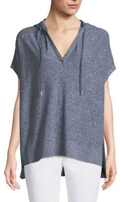 Lafayette 148 New York Sequined Mouline Oversized Short-Sleeve Hoodie