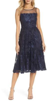 Adrianna Papell Lace Tea Length Dress