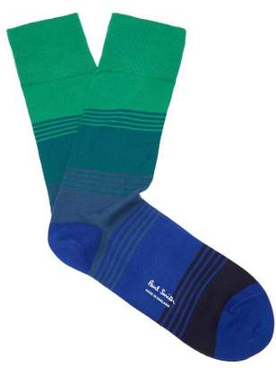 Paul Smith - Striped Cotton Blend Socks - Mens - Green