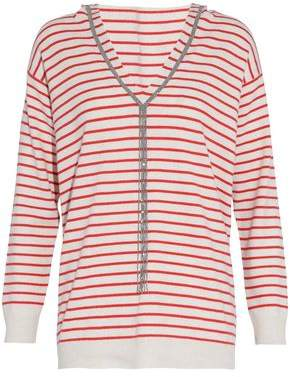 Brunello Cucinelli Bead-Embellished Striped Cashmere Hooded Sweater