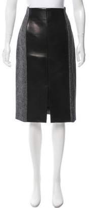 Gianfranco Ferre Leather-Trimmed Knee-Length Skirt