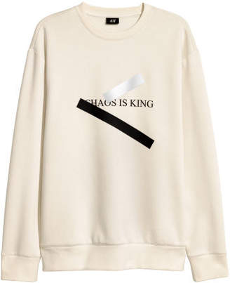 H&M Sweatshirt with Motif - Beige
